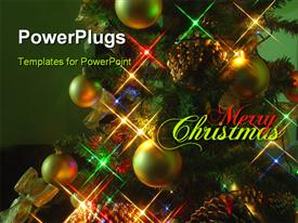 PowerPoint template displaying christmas tree at night in the background.