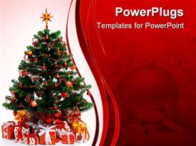 PowerPoint template displaying decorated Christmas tree