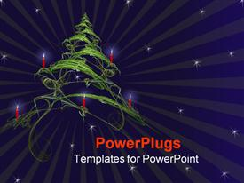 PowerPoint template displaying a beautiful Christmas tree in the air with stars in the background