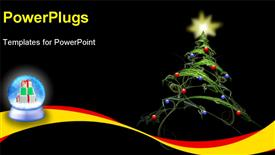 PowerPoint template displaying christmas tree fractal, with star and decorations