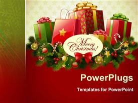 PowerPoint template displaying christmas background depiction in the background.