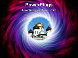 Abstract vortex with Russian orthodox church as faith portal concept powerpoint template