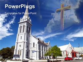 PowerPoint template displaying tall white church building with cross in the sky