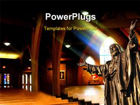 PowerPoint template displaying a huge statue of a saint in a cathedral