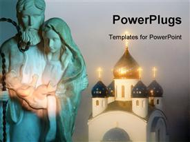 PowerPoint template displaying a statue of Father Joseph carrying Baby Jesus and a cathedral
