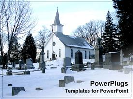 PowerPoint template displaying winter snow covers church and graves at cementary