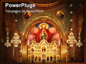PowerPoint template displaying church interior with altar and dome and icons depicting Saints, Jesus Christ as a child and Virgin Mary