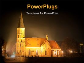 Church in the night time powerpoint design layout