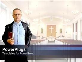 PowerPoint template displaying adult male in a black coat holding a bible