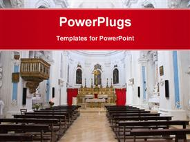 PowerPoint template displaying interior of large empty church colored white with cross on altar