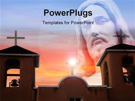 PowerPoint template displaying representation of Jesus with a lot of churches