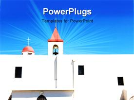 PowerPoint template displaying s beautiful church with a bluish background
