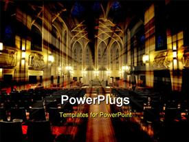 PowerPoint template displaying a big church from the inside with a number of windows