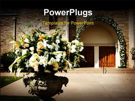PowerPoint template displaying flower with the church doors before a wedding