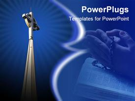 PowerPoint template displaying radiant church steeple cross, praying hands with rosary beads, Bible, religions, Christianity