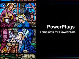 Stained glass window in 19th century church of baby Jesus Mary and Joseph powerpoint template