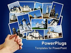 PowerPoint template displaying collage of ancient orthodox churches on display on blue background