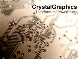 PowerPoint template displaying close up of a printed circuit board in shades of brown