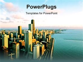 PowerPoint template displaying aerial view of Chicago in the background.