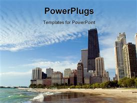 PowerPoint template displaying chicago Lakefront Skyline with Dramatic Clouds