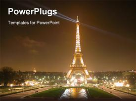 PowerPoint template displaying eiffel tower at night in Paris