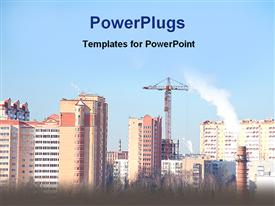 PowerPoint template displaying a sunny view of a lot of high buildings on