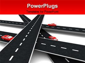 PowerPoint template displaying roads cross with cars on it in the background.
