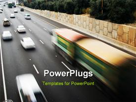 PowerPoint template displaying traffic in motion blur traffic in high speed in the background.