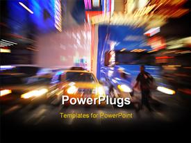 PowerPoint template displaying colorful action packed city motion blur in the background.