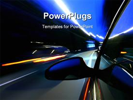 PowerPoint template displaying speed car on highway motion blurred concept in the background.