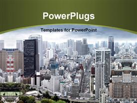 PowerPoint template displaying aerial view of modern city with skyscrapers and cloudy sky