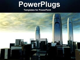 PowerPoint template displaying cloudy sky with depiction of futuristic city