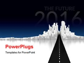 Image of cityscape with road  new powerpoint theme