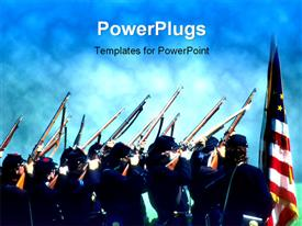 PowerPoint template displaying lots of officials holding up their guns to the sky with a flag beside them