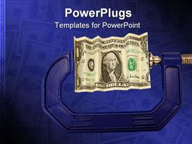 PowerPoint template displaying financial or economic metaphor: dollar bill in clamp in the background.