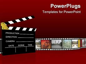 PowerPoint template displaying cinema industry vintage projector clapboard