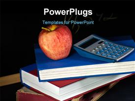 PowerPoint template displaying red apple and calculator on pile of books over black background