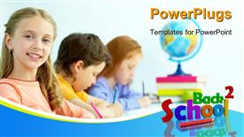 PowerPoint template displaying smart schoolgirl looking at camera at drawing lesson