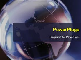 PowerPoint template displaying a big earth globe on a blue colored background