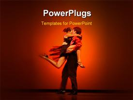 PowerPoint template displaying a person dancing with a girl and reddish background