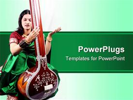 PowerPoint template displaying indian classical singer with the string instrument called Tanpura in the background.