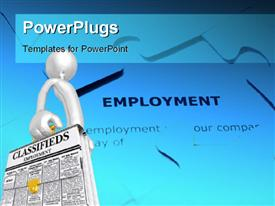 PowerPoint template displaying human character holding classifieds briefcase with employment puzzle in the background