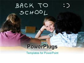 PowerPoint template displaying a number of kids in the classroom with blackboard in the background