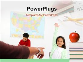PowerPoint template displaying classroom depiction with teacher, students and red apple on book pile