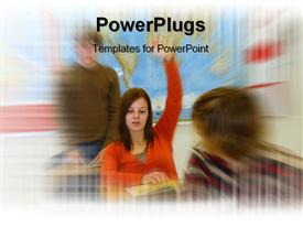 Teen girl With Answer powerpoint design layout