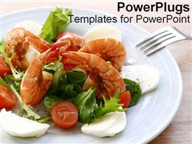 PowerPoint template displaying a large white plate with shrimps vegetables and eggs