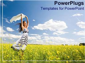 PowerPoint template displaying woman smiles happily amongst a sea of golden flowers in the background.