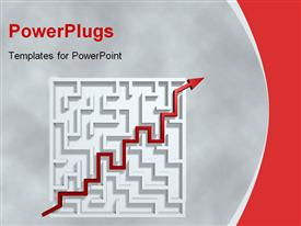 PowerPoint template displaying strategy metaphor with red arrow traveling through white maze