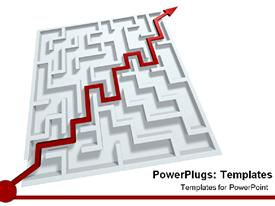 PowerPoint template displaying red line pointing to success through maze in the background.