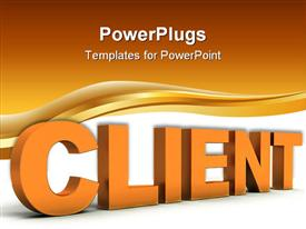 PowerPoint template displaying 3D word client in orange with wave and orange, white background